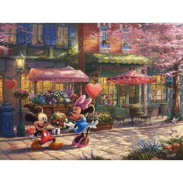 Thomas Kinkade The Disney Dreams Collection Mickey & Minnie Sweetheart Café Puzzle