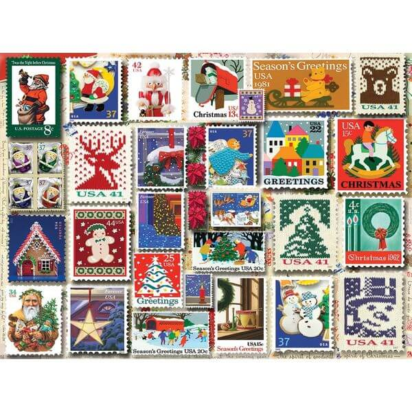 White Mountain Puzzles Christmas Stamps Jigsaw Puzzle - Puzzle Haven #ChristmasPuzzles