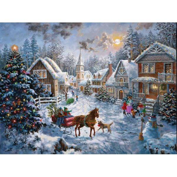 SunsOut Merry Christmas Jigsaw Puzzle - Puzzle Haven #ChristmasPuzzles
