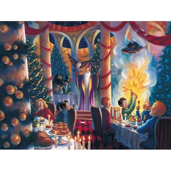 New York Puzzle Company Harry Potter Christmas at Hogwarts Jigsaw Puzzle - Puzzle Haven #ChristmasPuzzles