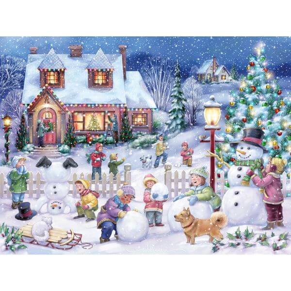 Snowman Celebration Christmas Jigsaw Puzzle - Puzzle Haven #ChristmasPuzzles
