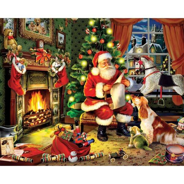 White Mountain Puzzles Checking It Twice Christmas Jigsaw Puzzle - Puzzle Haven #ChristmasPuzzles