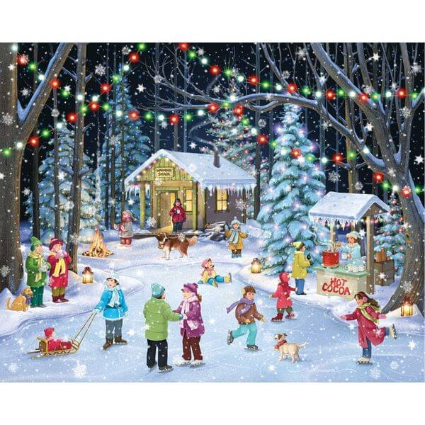 Woodland Skaters Christmas Jigsaw Puzzle - Puzzle Haven #ChristmasPuzzles