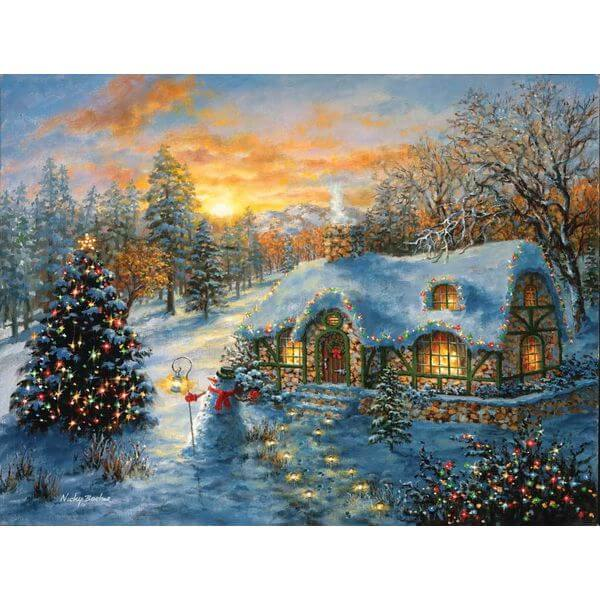 Christmas Cottage Jigsaw Puzzle - Puzzle Haven #ChristmasPuzzles