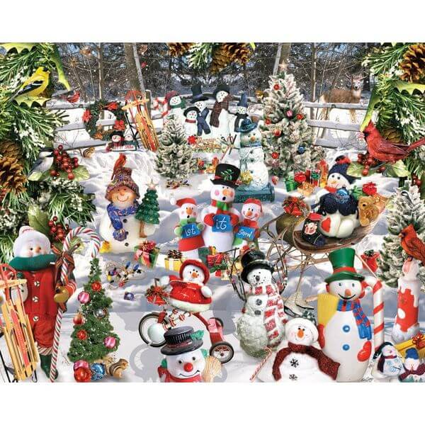 White Mountain Puzzles Snowmen Jigsaw Puzzle - Puzzle Haven #ChristmasPuzzles