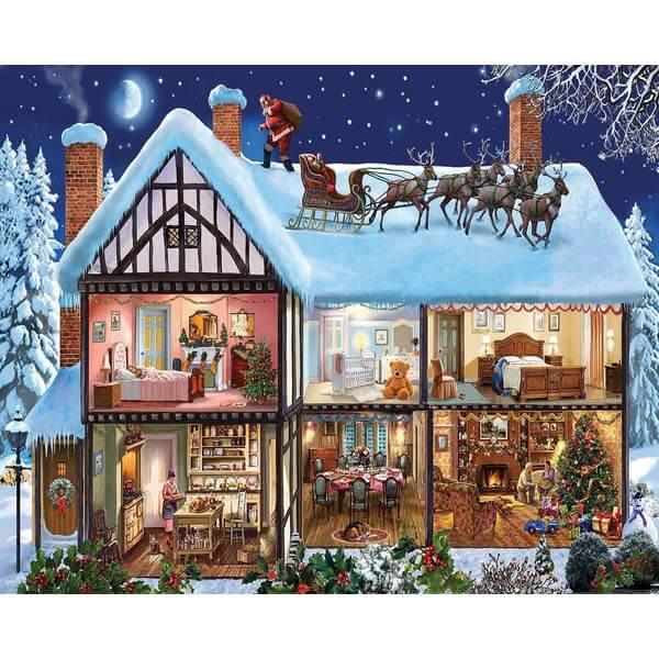 White Mountain Puzzles Christmas House Jigsaw Puzzle - Puzzle Haven #ChristmasPuzzles