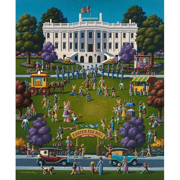 Dowdle Folk Art White House Easter Jigsaw Puzzle