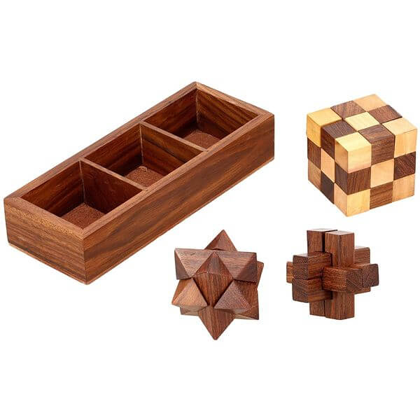3-in-1 Wooden Puzzle Games Set