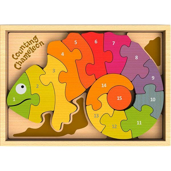 BeginAgain Counting Chameleon Bilingual Wooden Puzzle
